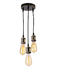 cheap -Vintage Loft Mini Cluster Chandelier Metal Bars Kitchen Dining Room Pendant Light Use 3 E26/27 Bulbs