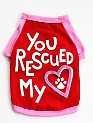 Недорогие -Собаки / Коты / Животные Жилет Одежда для собак С сердцем / Лозунг / Мультипликация Красный / Синий Хлопок Костюм Для домашних животных