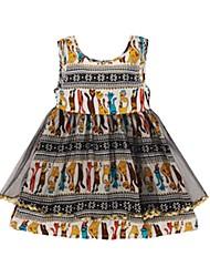 cheap -Kids Girls' Print Jacquard Sleeveless Dress