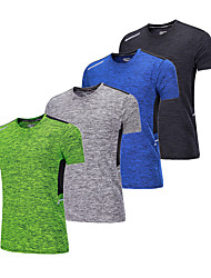 cheap -BARBOK Men's Crew Neck Running Baselayer - Green, Blue, Grey Sports Tee / T-shirt Fitness, Gym, Workout Short Sleeve Activewear Lightweight, Quick Dry, Breathability Stretchy