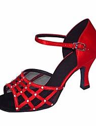 preiswerte -Damen Schuhe für den lateinamerikanischen Tanz Seide Sandalen / Absätze Stöckelabsatz Tanzschuhe Schwarz / Rot / Leistung / Leder