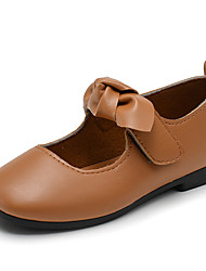 cheap -Girls' Shoes Faux Leather / PU(Polyurethane) Spring &  Fall / Spring & Summer Comfort Flats Walking Shoes Bowknot / Magic Tape for Kids Black / Light Brown / Dark Green