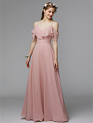 cheap -A-Line Spaghetti Strap Floor Length Chiffon / Charmeuse Bridesmaid Dress with Ruffles by LAN TING BRIDE® / Open Back