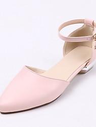 baratos -Mulheres Sapatos Micofibra Sintética PU Primavera Verão Tira no Tornozelo Sandálias Caminhada Salto Baixo Dedo Apontado Pedrarias /