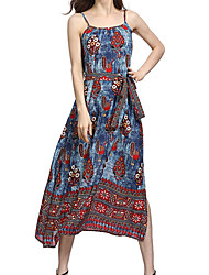 cheap -Women's Boho / Street chic Chiffon / Swing Dress - Floral / Geometric Print