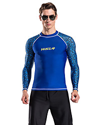abordables -HISEA® Hombre Protección para Erupciones SPF50, Protección solar UV, Secado rápido Chinlon Manga Larga Bañadores Ropa de playa Protección para Erupciones / Top Moda Playa