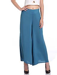 お買い得  -女性用 活発的 / ベーシック ワイドレッグ パンツ ソリッド