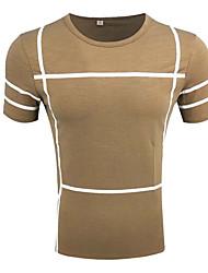 cheap -Men's Cotton / Polyester T-shirt - Solid Colored / Plaid Round Neck / Cotton / Round Neck / Plaid / Short Sleeve