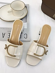 cheap -Women's Shoes PU Summer Comfort Slippers & Flip-Flops Chunky Heel for Casual Beige / Pink