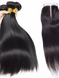 cheap -Brazilian Hair Straight Virgin Human Hair Human Hair Extensions / Hair Weft with Closure 3 Bundles With  Closure Human Hair Weaves Soft / Silky / Natural Hairline Natural Black Human Hair Extensions