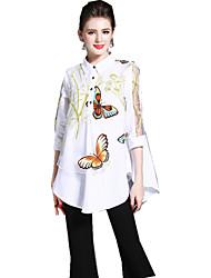 baratos -Mulheres Camisa Social Temática Asiática Estampado, Floral