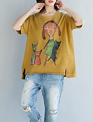 abordables -Mujer Algodón Camiseta Corte Ancho Retrato