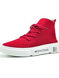 Недорогие -Жен. Обувь Полиуретан Весна лето Удобная обувь Кеды Для прогулок На плоской подошве Круглый носок Белый / Черный / Красный