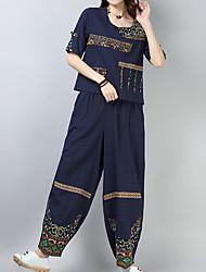 abordables -Mujer Tallas Grandes Manga Farol Algodón Conjunto - Un Color, Plisado Pantalón / Primavera