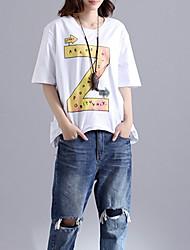 abordables -Mujer Algodón Camiseta Corte Ancho Letra