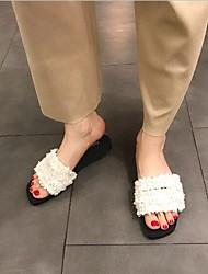 cheap -Women's Shoes Cashmere Summer Comfort Slippers & Flip-Flops Flat Heel for White Black Blue