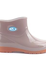 Недорогие -Жен. Обувь ПВХ Весна лето Резиновые сапоги Ботинки На низком каблуке Ботинки Красный / Миндальный