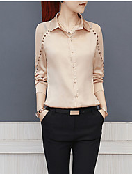 cheap -Women's Work Basic Slim Blouse - Solid Colored Beaded / Lace up / Patchwork Shirt Collar / Spring