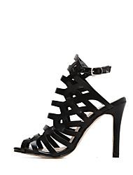 cheap -Women's Shoes PU Spring & Summer Basic Pump Sandals Stiletto Heel for Birthday Black