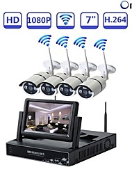 cheap -STRONGSHINE@ 4Ch NVR Build-in 7 Inch LCD Network Video Recorder Wireless Surveillance Security Stystem with 960P IR Waterproof WIFI IP Cameras