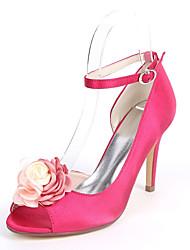 abordables -Mujer Zapatos Satén Primavera verano Pump Básico Zapatos de boda Tacón Stiletto Punta abierta Flor de Satén Azul Oscuro / Fucsia / / Boda
