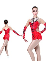 cheap -Women's / Girls' Gymnastics Leotard - Red Sports Coverall Ballet, Ice Skating, Figure Skating Long Sleeve Activewear Lightweight, Quick Dry, Breathable High Elasticity