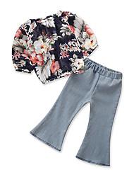 abordables -Bébé Fille Actif / Basique Quotidien / Sortie Fleur / Imprimé Imprimé Manches Longues Normal Normal Coton / Polyester Ensemble de Vêtements Bleu clair 100