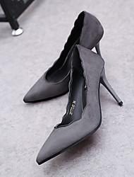 お買い得  -女性用 靴 ヌバックレザー 夏 ベーシックサンダル ヒール スティレットヒール のために オフィス&キャリア ブラック / グレー / グリーン