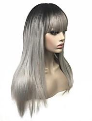baratos -Perucas sintéticas Liso Corte em Camadas 100% cabelo kanekalon Âmbar Mulheres Sem Touca Peruca de celebridade / Peruca Natural Longo