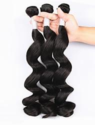 billige -Peruviansk hår Bølget Menneskehår Vævninger 3stk Silkeagtig / ubehandlet / 100% Jomfru Vævning / Hårforlængelse af menneskehår / Én Pack