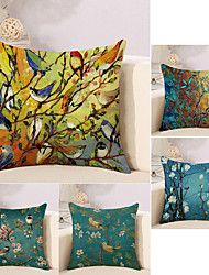 cheap -5 pcs Cotton / Linen Pillow Cover, Botanical Oil Painting Animal Rustic Retro