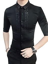 Недорогие -Муж. Офис Рубашка Тонкие Деловые / Классический Горошек