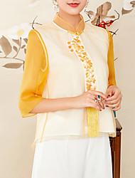 economico -Camicia Per donna Stoffe orientali Con ricami, Monocolore