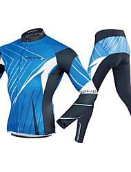 economico -Realtoo Per uomo Manica lunga Maglia con pantaloni da ciclismo - Bule / nero Bicicletta Set di vestiti, Pad 3D Poliestere, Elastene