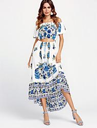 cheap -Women's Cotton Swing Dress - Floral Tassel Maxi Strapless