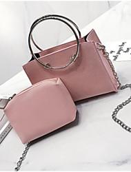 baratos -Mulheres Bolsas PU Conjuntos de saco 2 Pcs Purse Set Ziper Rosa / Bege / Cinzento