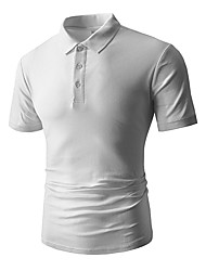 cheap -Men's Cotton / Spandex Polo - Solid Colored Shirt Collar / Please choose one size larger according to your normal size. / Short Sleeve