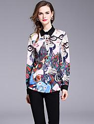 baratos -Mulheres Camisa Social Activo / Moda de Rua Estampado, Retrato