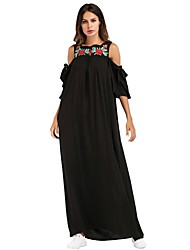 cheap -Women's Petal Sleeves Cotton Loose Shift Dress - Solid Colored Embroidered Maxi Boat Neck