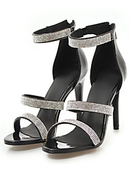 cheap -Women's Shoes PU(Polyurethane) Summer Basic Pump Sandals Stiletto Heel Open Toe Rhinestone White / Black / Silver / Party & Evening