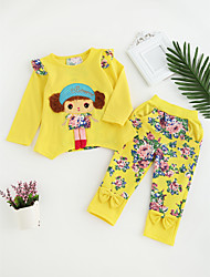 cheap -Girls' Daily Going out Cartoon Clothing Set, Cotton All Seasons Long Sleeves Cute Casual Active Blushing Pink Yellow Fuchsia