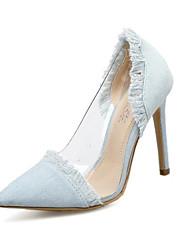 baratos -Mulheres Sapatos Jeans Primavera Verão Plataforma Básica Saltos Salto Agulha Dedo Apontado Mocassim para Ao ar livre Azul Escuro / Azul /