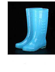 Недорогие -Жен. Обувь Кожа ПВХ  / Кожа Весна лето Резиновые сапоги Ботинки Блочная пятка Синий / Розовый / Оранжевый и черный