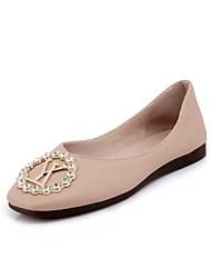 preiswerte -Damen Schuhe PU Frühling Sommer Komfort Flache Schuhe Walking Flacher Absatz Runde Zehe Strass für Büro & Karriere / Draussen Schwarz /