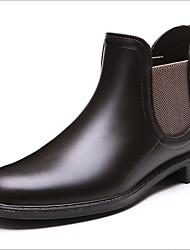 Недорогие -Жен. Обувь КожаПВХ Весна лето Резиновые сапоги Ботинки На низком каблуке Круглый носок Черный / Коричневый