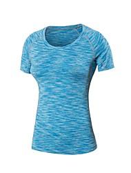 お買い得  -女性用 ランニングTシャツ 半袖 ライトウェイト, 速乾性, 伸縮性 Tシャツ のために ピラティス / エクササイズ&フィットネス / 戸外運動 ポリエステル, スパンデックス グリーン / ブルー / グレー L / XL / XXL