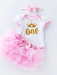 Недорогие -малыш Девочки На каждый день / Активный Повседневные / День рождения С принтом Сетка С короткими рукавами Длинный Короткая Хлопок Набор одежды Розовый 59