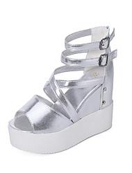 abordables -Femme Chaussures Polyuréthane Eté Gladiateur Sandales Marche Hauteur de semelle compensée Bout ouvert Noir / Argent