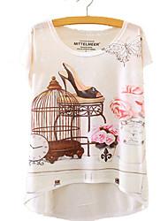 baratos -Mulheres Camiseta - Bandagem / Praia Geométrica Algodão / Poliéster Solto / Verão