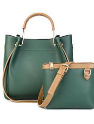 baratos -Mulheres Bolsas couro legítimo Conjuntos de saco 2 Pcs Purse Set Ziper para Para Noite Preto / Vermelho / Cinzento